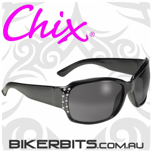 Motorcycle Sunglasses - Chix Forever - Smoke Lens/Rhinestones