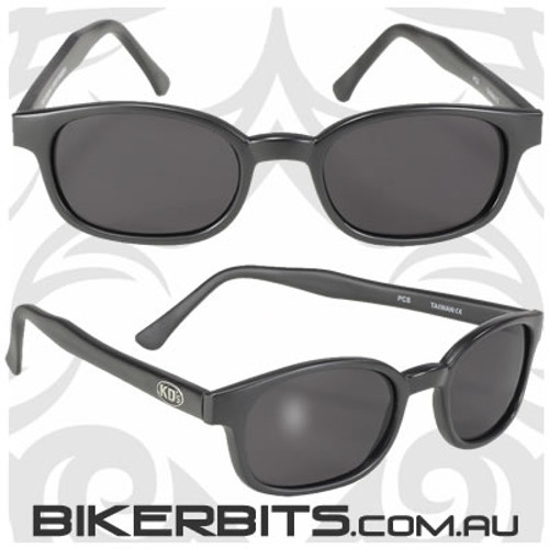 Motorcycle Sunglasses - KD's Matte Black - Grey