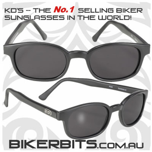 Motorcycle Sunglasses - X KD's Matte Black - Grey