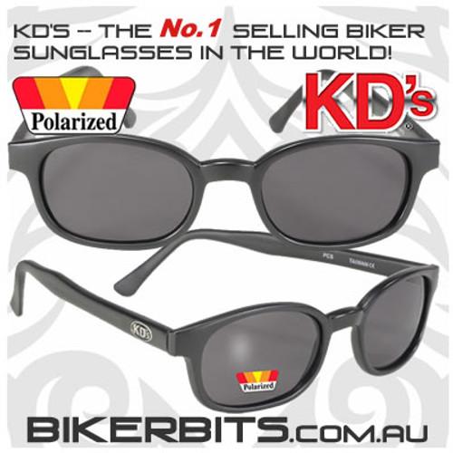 Motorcycle Sunglasses - KD's Matte Black - Grey Polarized