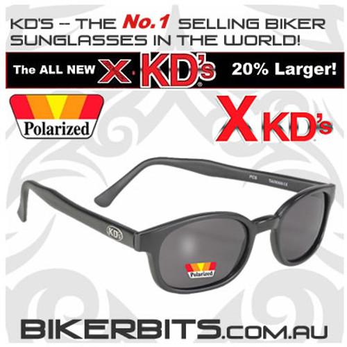 Motorcycle Sunglasses - X KD's Matte Black - Polarized Grey