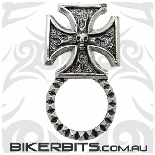Sunglass Holder - Iron Cross With Skull