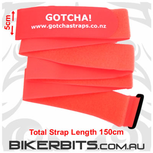 Gotcha Straps - 5cm wide x 1.5 metres long - 2 Pack - Lum Red