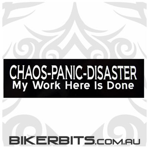 Helmet Sticker - CHAOS-PANIC-DISASTER