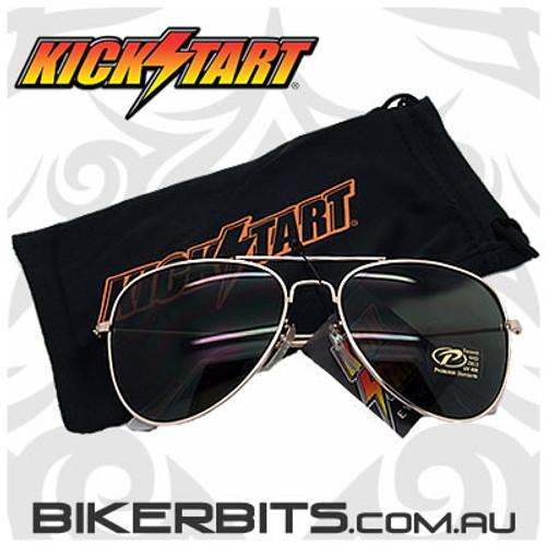 Motorcycle Sunglasses - Aviator - Smoke / Gold