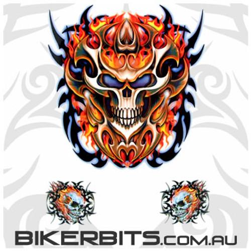 Biker Decal - Flaming Skulls Set