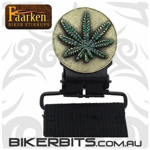 Faarken Biker Stirrups - Marijuana Leaf - Brass