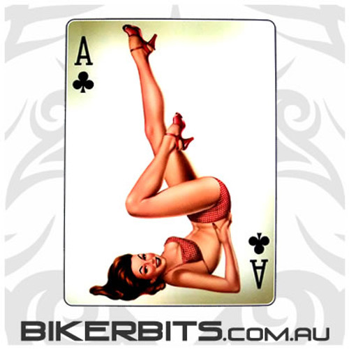 Biker Decal - Ace Of Clubs Pin-up