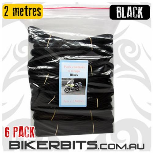 Gotcha Straps - 5cm wide x 2 metre long - 6 Pack - Black