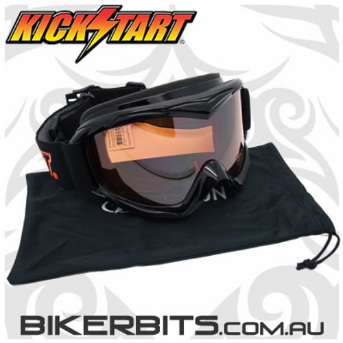 Motorcycle Goggles - Kickstart Victory Orange Mirror Anti-Fog