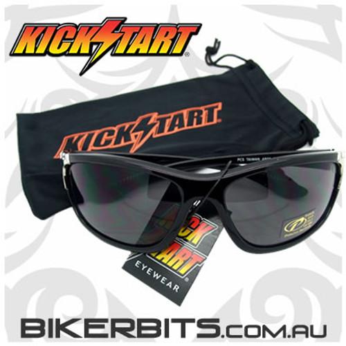 Motorcycle Sunglasses - Kicker - Black - Smoke Lens