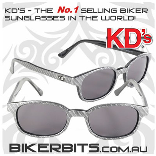 Motorcycle Sunglasses - KD's Carbon Fiber - Smoke