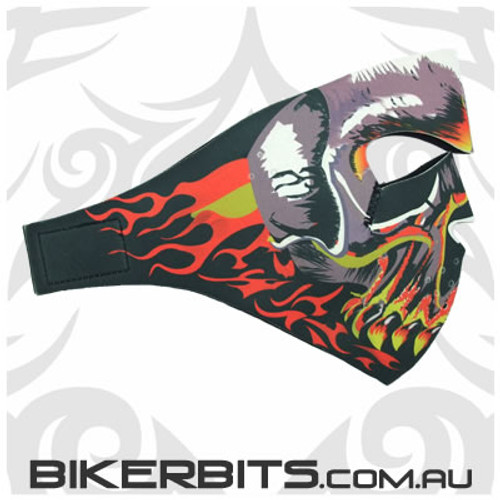 Headwear - Neoprene Full Face Mask - Flaming Evil Skull