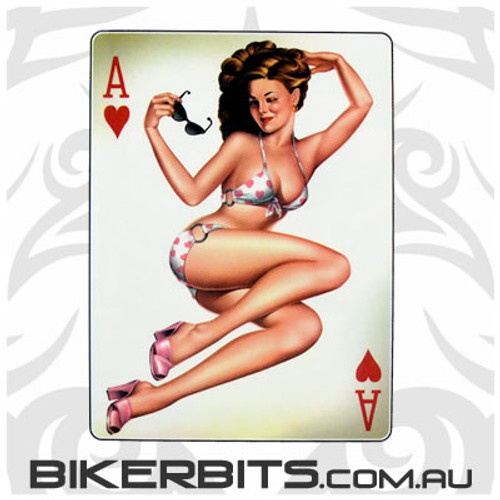 Biker Decal - Ace Of Hearts Pin-up