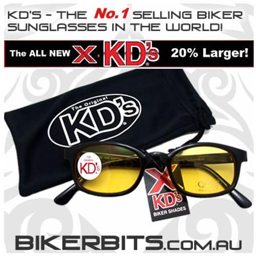 Motorcycle Sunglasses - X KD's Black - Yellow