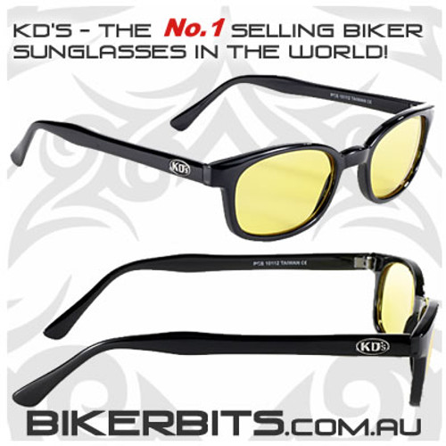 Motorcycle Sunglasses - X KD's Black - Yellow