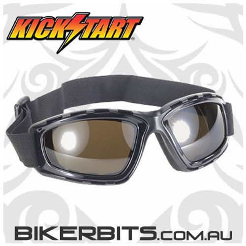 Motorcycle Goggles - Kickstart Force - Brown Lens /Silver Mirror