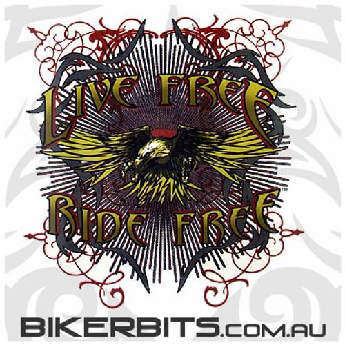 Biker Decal - Live Free Ride Free Eagle