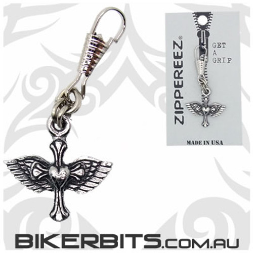 Zippereez Zipper Pull - Heart Cross with Wings