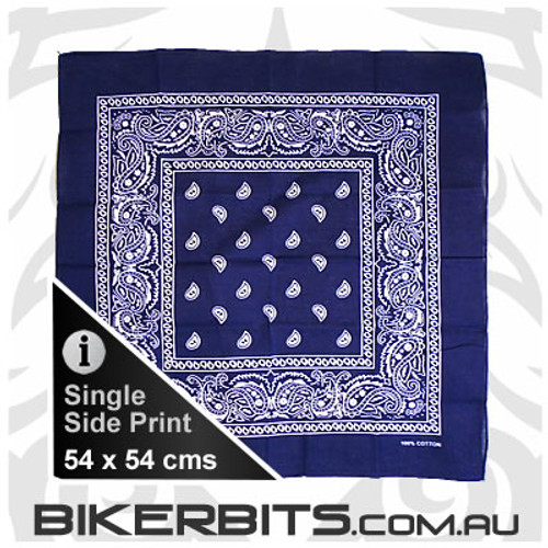 Headwear - Bandana - Dark Blue Square Paisley