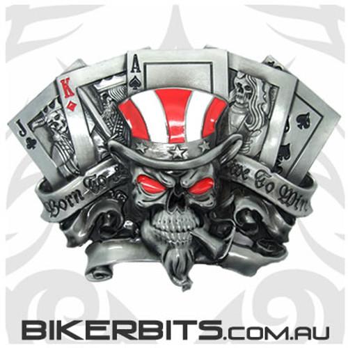 Belt Buckle - Live To Win Skull
