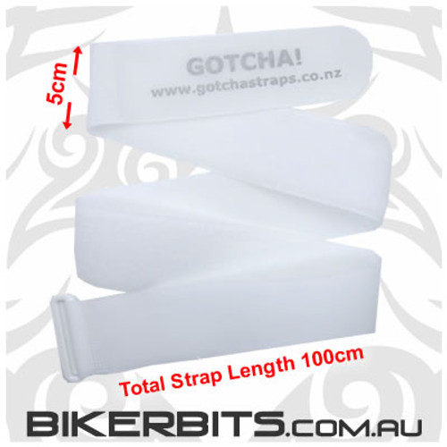 Gotcha Straps - 5cm wide x 1 metre long - 2 Pack - White