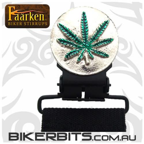 Faarken Biker Stirrups - Marijuana Leaf - Silver