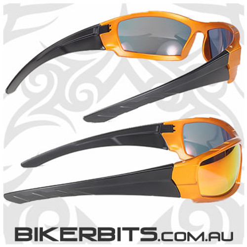 Motorcycle Sunglasses - Igniter - Orange Mirror/Orange and Black