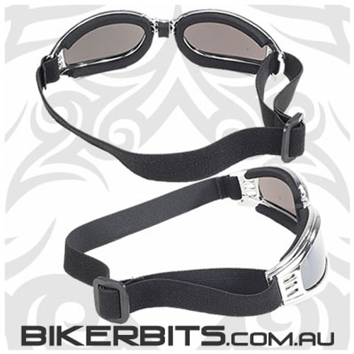 Motorcycle Goggles - Kickstart Nomad - Silver Mirror/Chrome