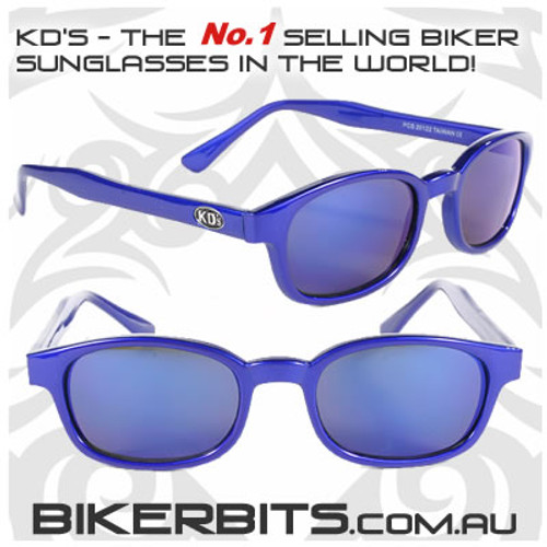 Motorcycle Sunglasses - KD's Blue Ice - Blue Frame/Blue Mirror