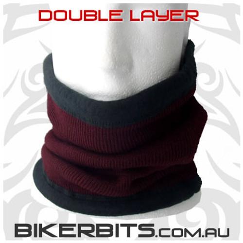 Headwear - Fleece Neck Warmer - Double Layer - Burgundy
