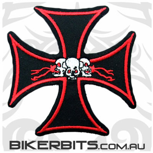 Patch - Iron Cross With 3 Skulls - Red Outline