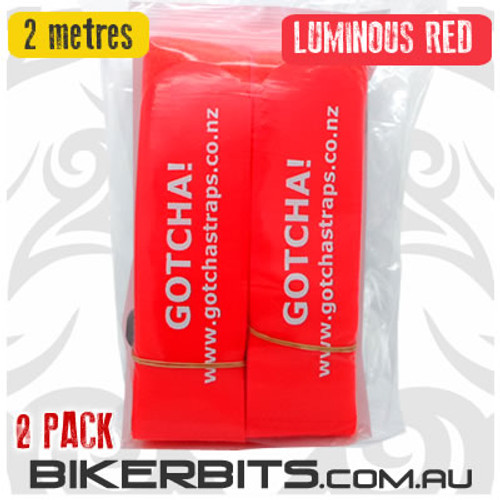 Gotcha Straps - 5cm wide x 2 metre long - 2 Pack - Lum Red