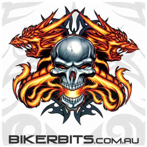Biker Decal - Skull and Fire Dragon