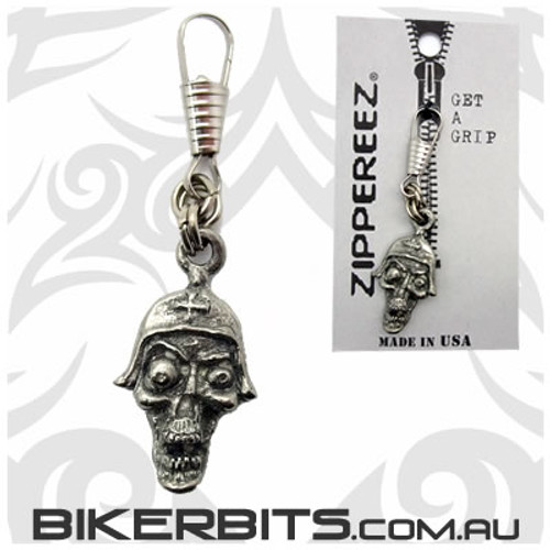 Zippereez Zipper Pull - Skull with Helmet