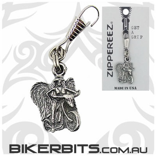 Zippereez Zipper Pull - Angel Riding a Motorcycle