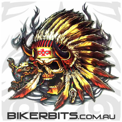 Biker Decal - Native Indian Skull