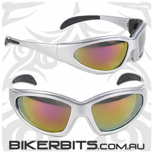 Motorcycle Sunglasses - Chopper - Coloured Mirror/Silver Frame
