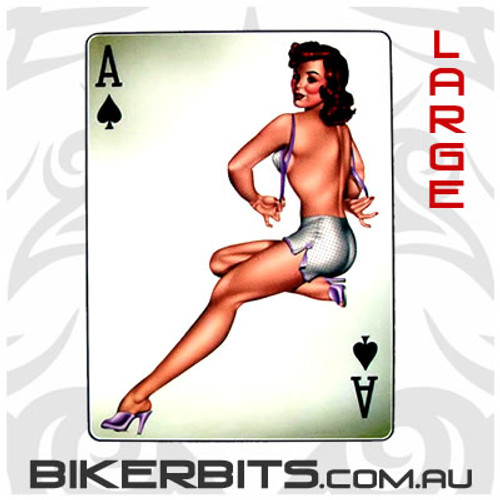 Biker Decal - Ace Of Spades Pin-up - Large