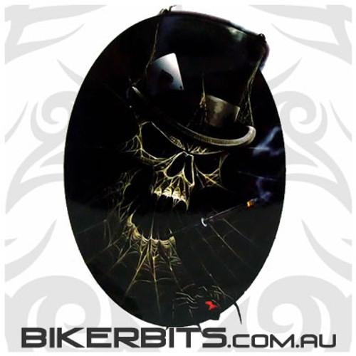 Biker Decal - Spiderweb Smoking Skull