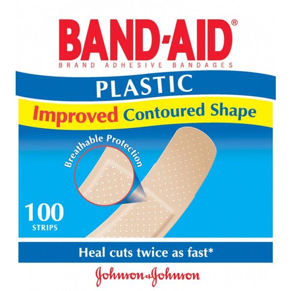 Bandaid Strips Plastic Johnson & Johnson - 100 Pack