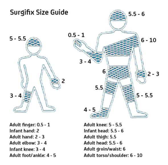Surgifix Tubular Bandage  - Size Guide