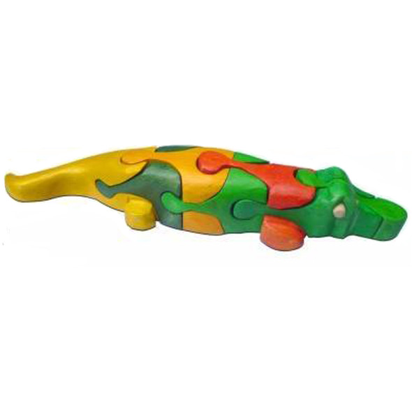Wooden Toy Puzzle - 3D Colored Crocodile