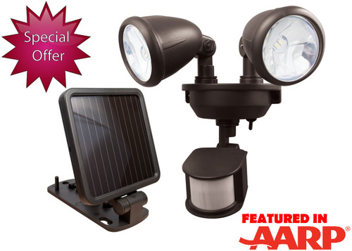 Solar-Powered Dual Head LED Security Spotlight - Dark Bronze