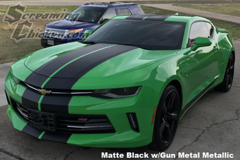 2016-18 Camaro Dual Full Length Stripes in Matte Black with Gun Metal Pinstripe