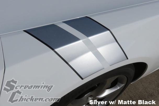 2010-15 Camaro Hash Mark Stripes , Metallic Silver with Matte Black Pinstripe