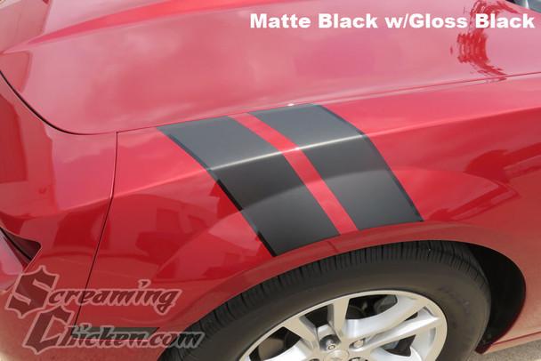 2010-15 Camaro Hash Mark Stripes, Matte Black with Gloss Black Pinstripe