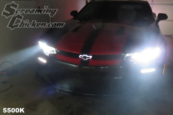 Morimoto 5500K HID bulbs on a 2017 Camaro SS. 5500k bulbs produce a pure white light making an improvement in appearance and night time visibility.