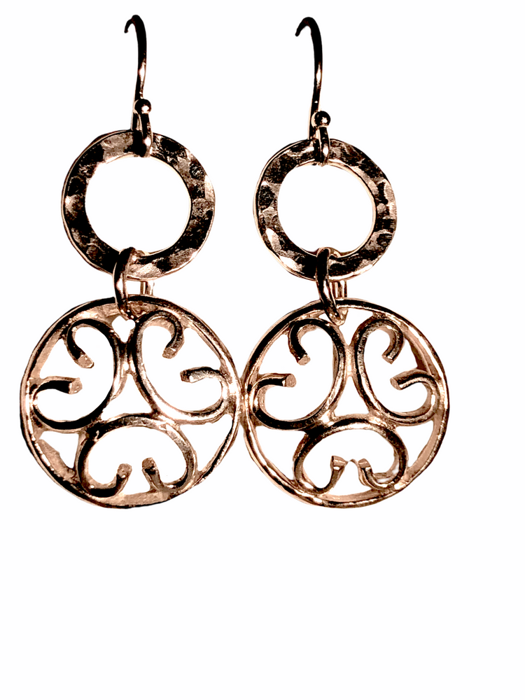 Sterling Silver Small Circle with Hammered Link Earring