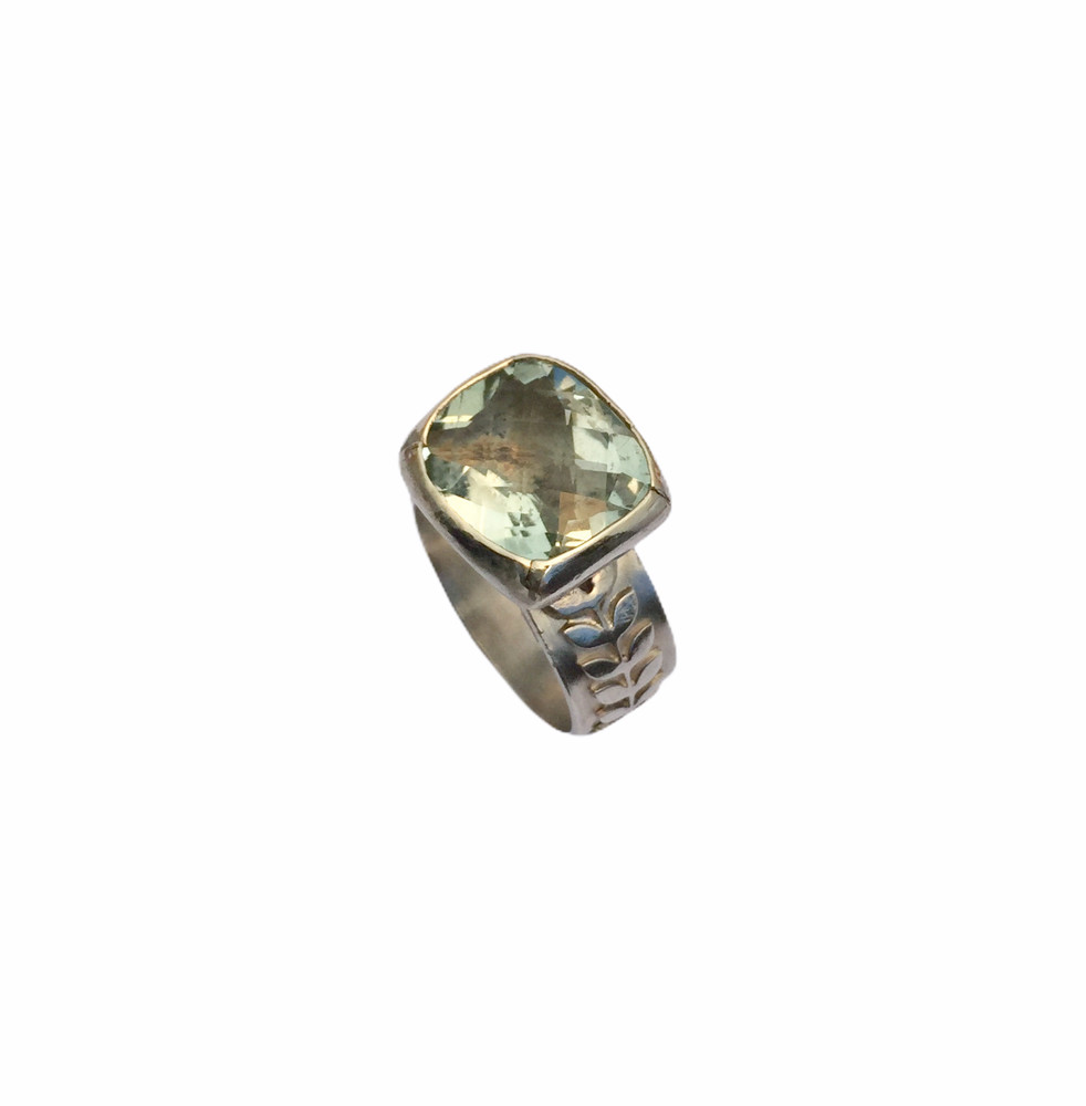 sterling silver, 14k gold and green amethyst ring